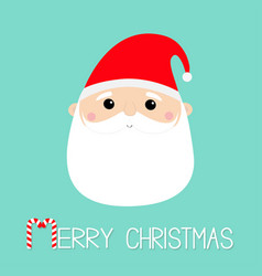 merry christmas santa claus face head round icon vector image