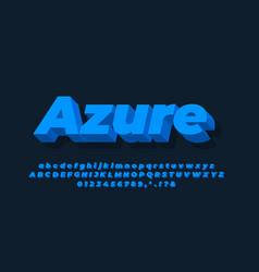 Modern alphabet 3d clean light blue text effect vector