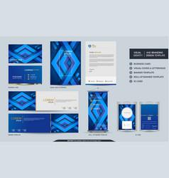 modern dynamic colorful blue stationery mock up vector image