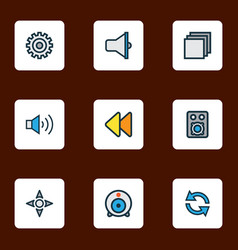 multimedia icons colored line set with rewind vector image