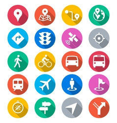 navigation flat color icons vector image