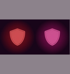 neon icon of red and pink network shield vector image