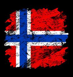 norway flag grunge brush background old brush vector image