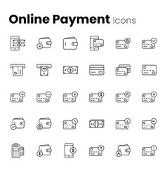 online digital payment icon set vector image