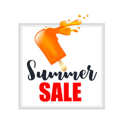 Orange splash ice cream bar with text summer sale vector