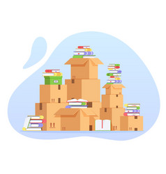 pile of cardboard boxes and books unorganized vector image