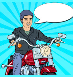 Pop art man biker riding a chopper vector