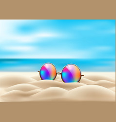 realistic eyeglasses retro circle on beach vector image