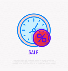 sale time watch with percentage symbol vector image