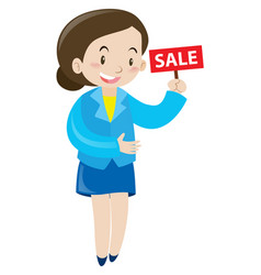 sale woman holding sign for sale vector image