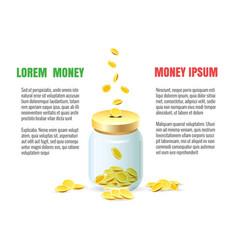 Save dollar coins in jar concept vector