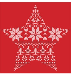 Scandinavian pattern in star shape on red vector image
