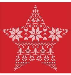 Scandinavian pattern in star shape on red vector