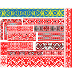 set of 15 ethnic patterns for embroidery stitch vector image
