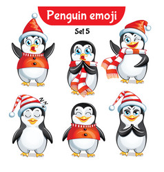 set of christmas penguin characters set 3 vector image