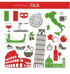 Set of rome italy symbols italian vector