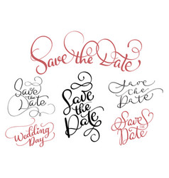 set of save the date text on white background vector image