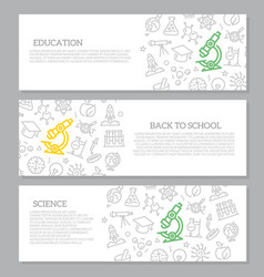 set of science and research horizontal vector image