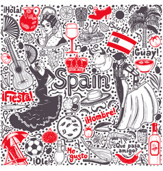 set of symbols of spain in hand-drawn style vector image