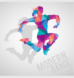 silhouette sportive girl dancing modern dance vector image