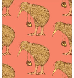 Sketch fancy kiwi bird in vintage style vector image