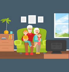 smiling grandparents and grandchildren sitting on vector image