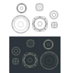 Speakers set drawings vector