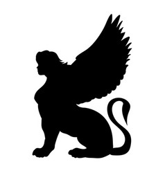 Sphinx silhouette ancient egyptian mythology vector