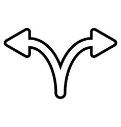 Split Arrow Left Right Outline Icon vector image