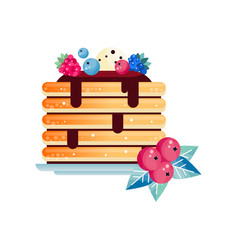 Stack of tasty pancakes topped with chocolate vector