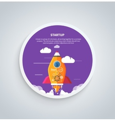 Start up rocket on round banner vector image