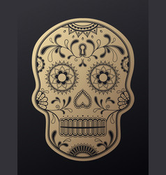 Sugar skull day of the dead golden vector
