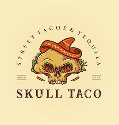 sugar skull taco mexican logo mascot vector image