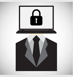 technology digital cyber security lock laptop vector image