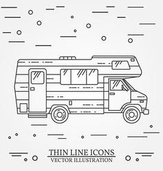 Traveler truck camper thin line Camping RV trailer vector image