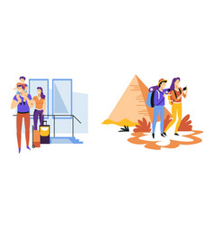 travelers couple and family traveling vacation and vector image