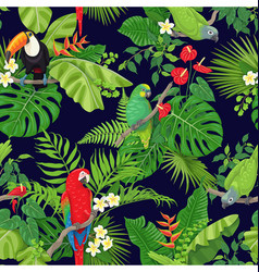 Tropical birds and plants pattern vector