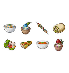 Vegetarian dish icons in set collection for design vector