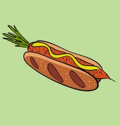 Veggie hot dog with carrot vegetarian food vector