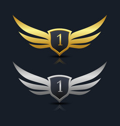 wings shield number 1 logo template vector image