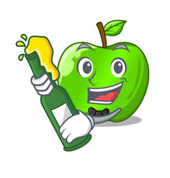 With beer green smith apple isolated on cartoon vector