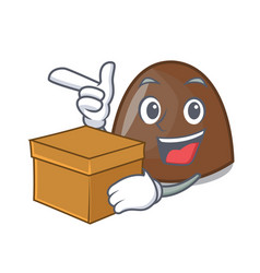 with box chocolate candies character cartoon vector image