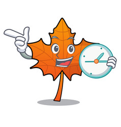 With clock red maple leaf character cartoon vector