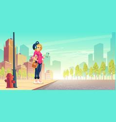 Woman listen music on street outdoor walk leisure vector