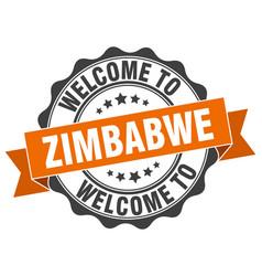 zimbabwe round ribbon seal vector image