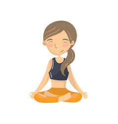 beautiful young woman sitting in lotus position vector image