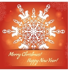Card with snowflake with monkey symbol of 2016 vector image vector image