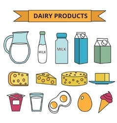Dairy products icon set modern line outline vector
