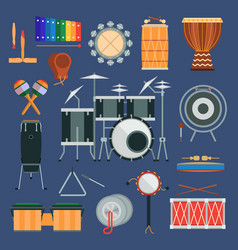 drum percussion musical instruments flat vector image