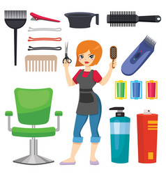 fashion hairdresser with hair clipper and vector image